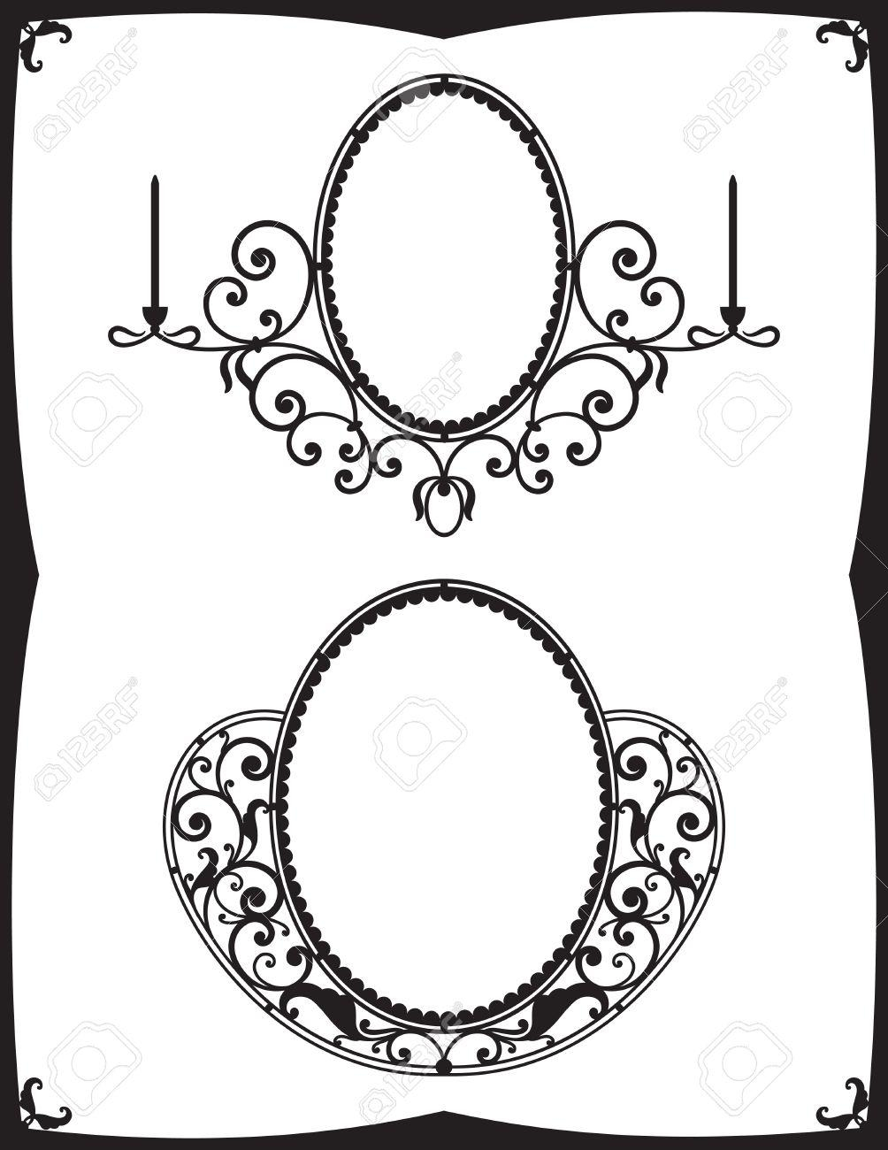 Two Wrought Iron Frames For Mirrors Royalty Free Cliparts, Vectors Within Black Wrought Iron Mirrors (View 10 of 20)