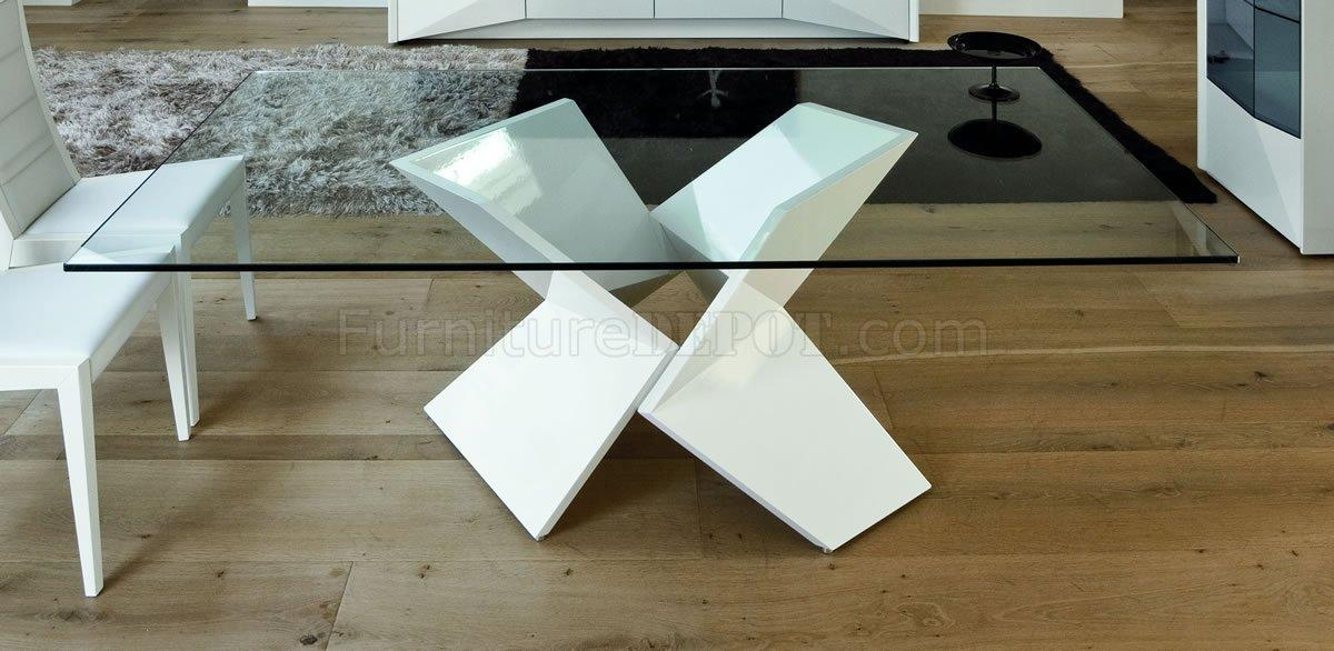 Ultra Modern Dining Table W/two Pedestal Legs & Glass Top In Contemporary Base Dining Tables (Image 18 of 20)