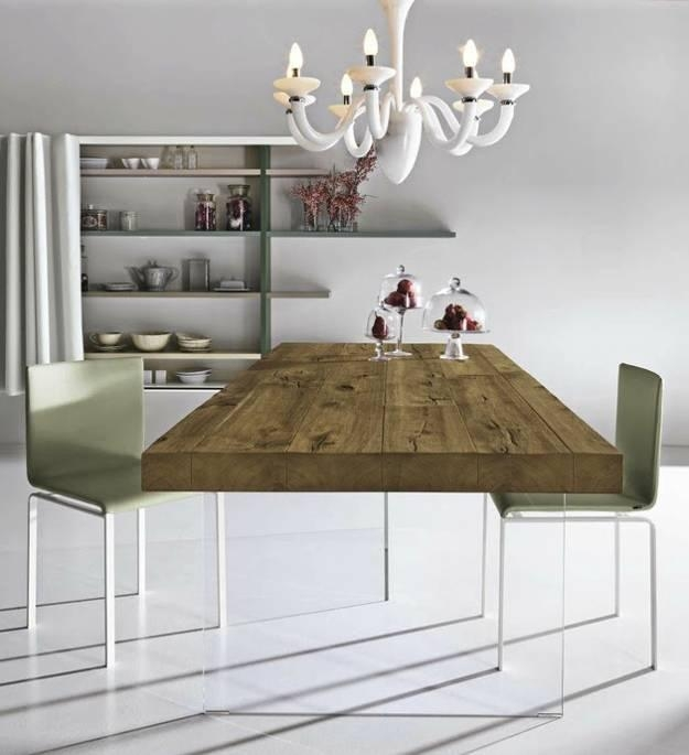 Unique Dining Table Mixing Glass And Solid Wood Furniture Design With Regard To Wood Glass Dining Tables (Image 20 of 20)