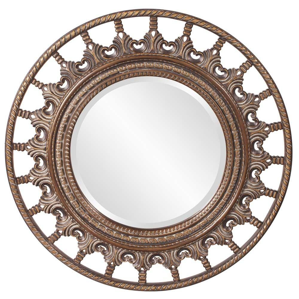 Unique Round Mirror With Antique Accents Hre 077 | Accent Mirrors In Antique Round Mirror (Image 19 of 20)