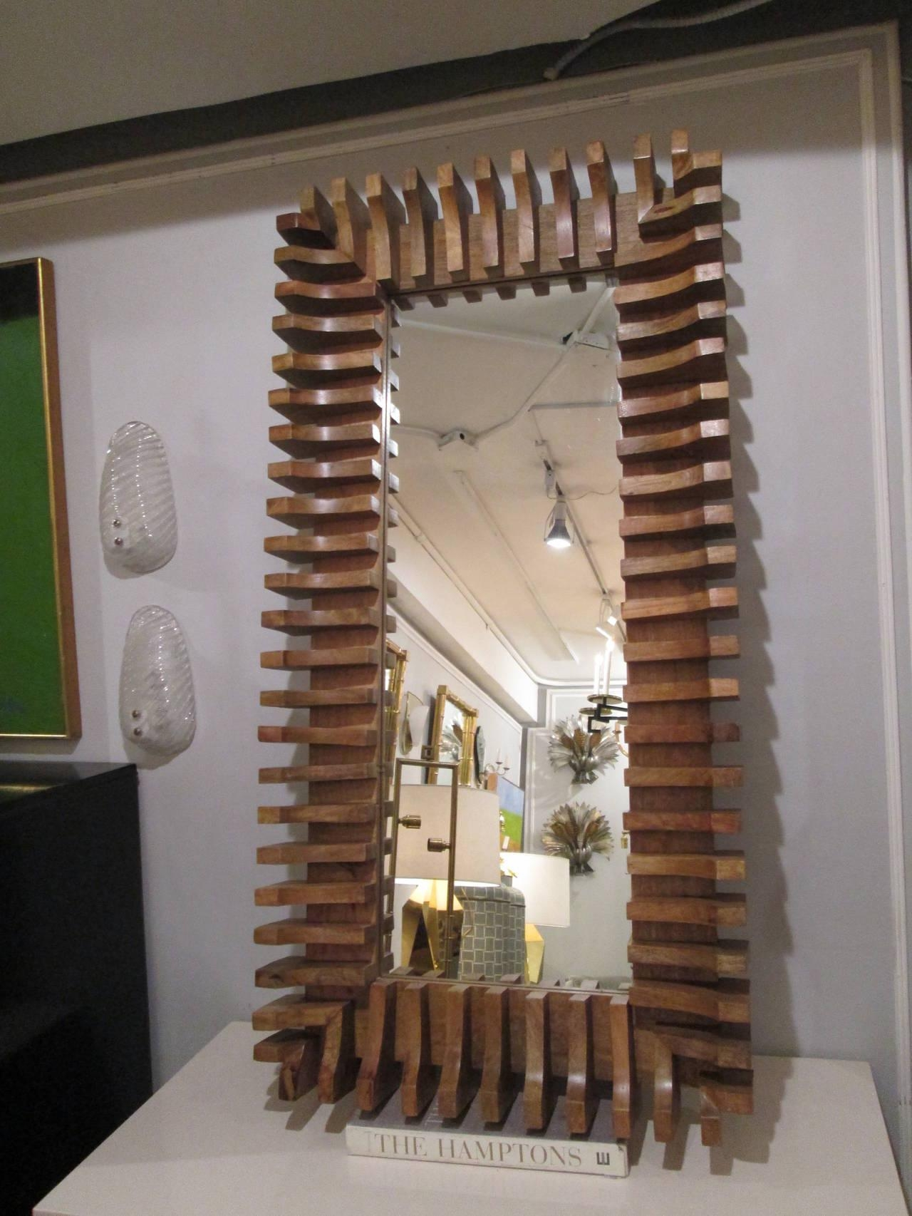 Unusual Slatted Wooden Mirror For Sale At 1Stdibs Inside Wooden Mirror (Image 8 of 20)