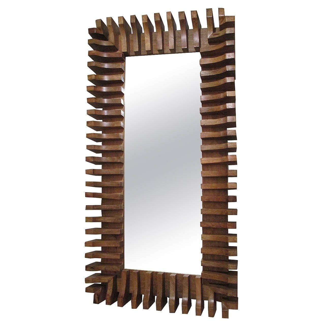 Unusual Slatted Wooden Mirror For Sale At 1Stdibs Throughout Wooden Mirror (Photo 8 of 20)