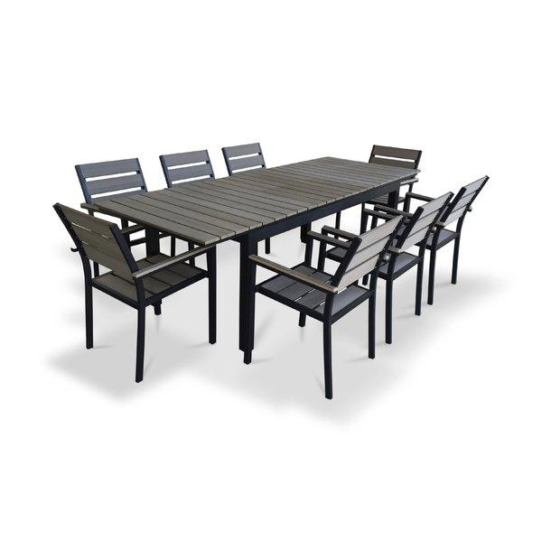 Urban Furnishings 9 Piece Extendable Outdoor Dining Set & Reviews Within Outdoor Extendable Dining Tables (Photo 15 of 20)