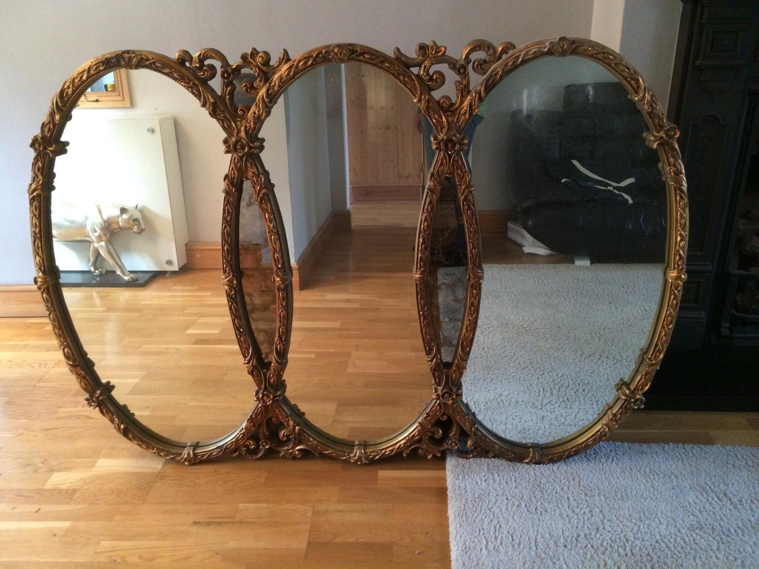 Used Large Antique Style Triple Wall Mirror In Cr2 Croydon For Throughout Triple Wall Mirror (Image 20 of 20)