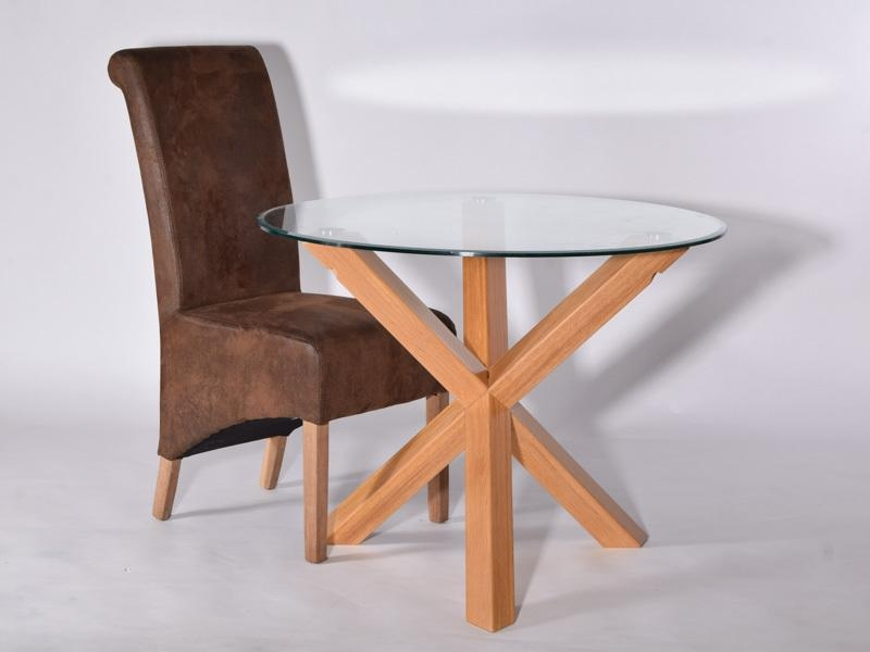 Utah Round Solid Oak Dining Table, Glass Top, 950 Mm – Oakea Throughout Glass Oak Dining Tables (Photo 20 of 20)
