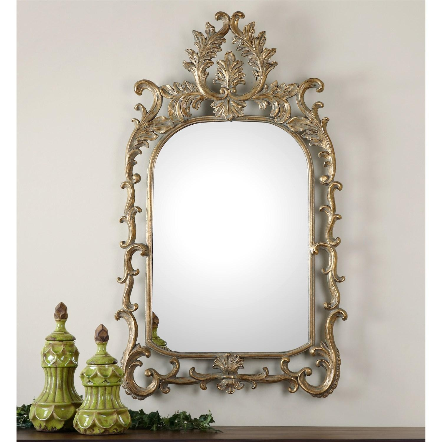 Uttermost 08117 Abelia Arch Mirror In Antiqued Gold Leaf Intended For Gold Arch Mirror (Image 18 of 20)