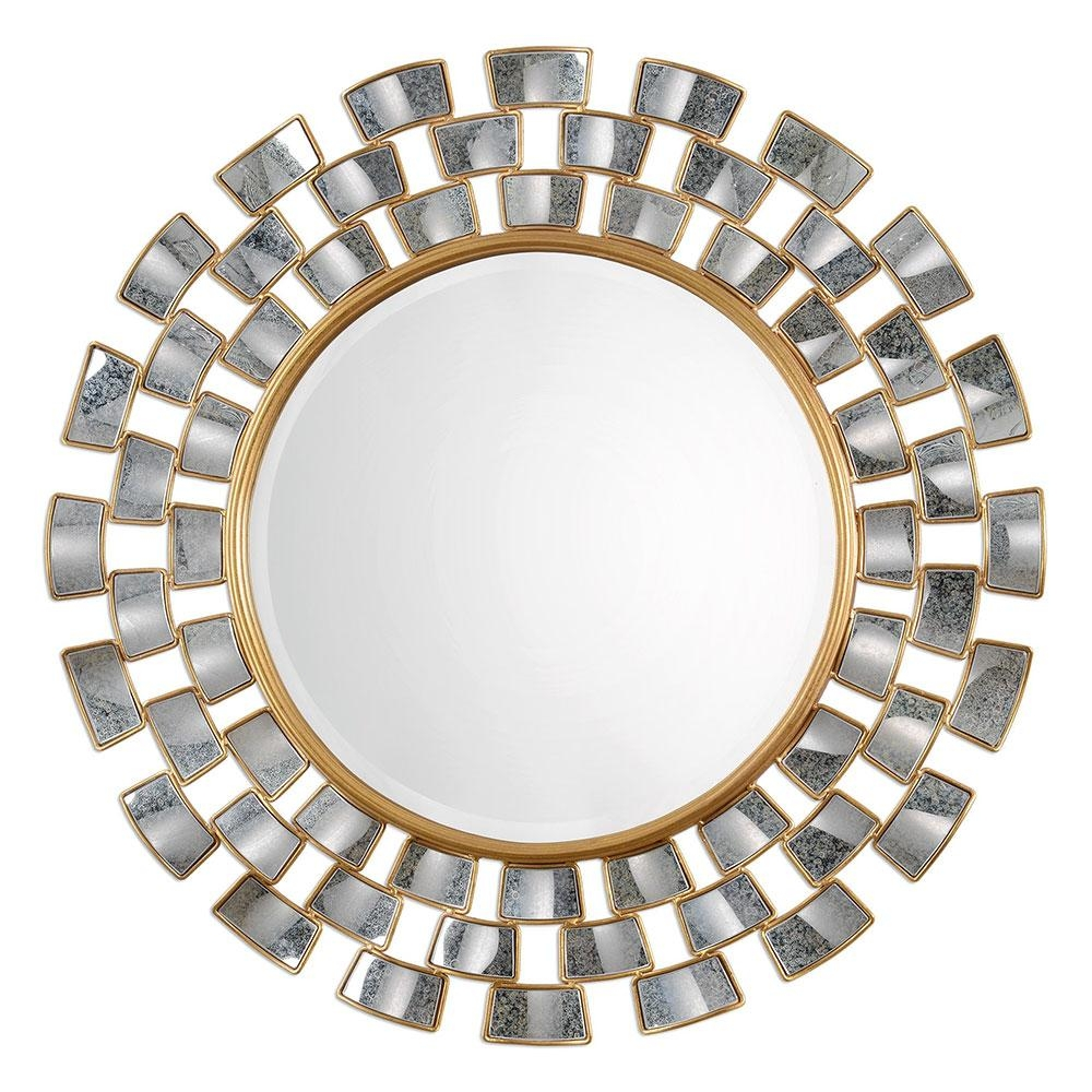 Uttermost 09107 Rachida Contemporary Heavily Antiqued Gold Leaf With Regard To Gold Round Mirrors (Image 19 of 20)
