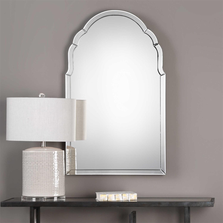 Uttermost 09149 Brayden Frameless Arched Mirror – Homeclick Regarding Frameless Arched Mirror (Photo 1 of 20)