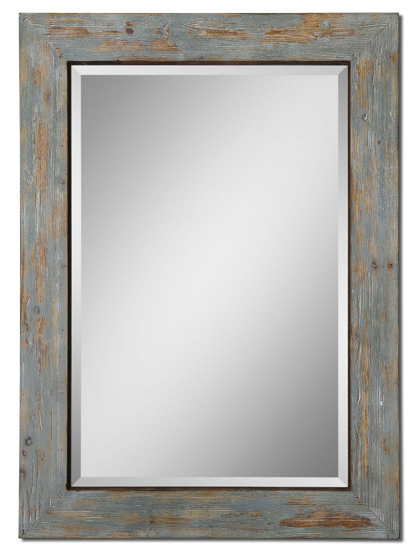 Uttermost Altino Distressed Wood Mirror 13818 Regarding Distressed Framed Mirror (Photo 5 of 20)