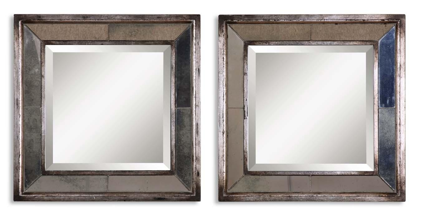 Uttermost Davion Squares Silver Mirror Set/2 13555 B Throughout Distressed Silver Mirror (View 2 of 20)