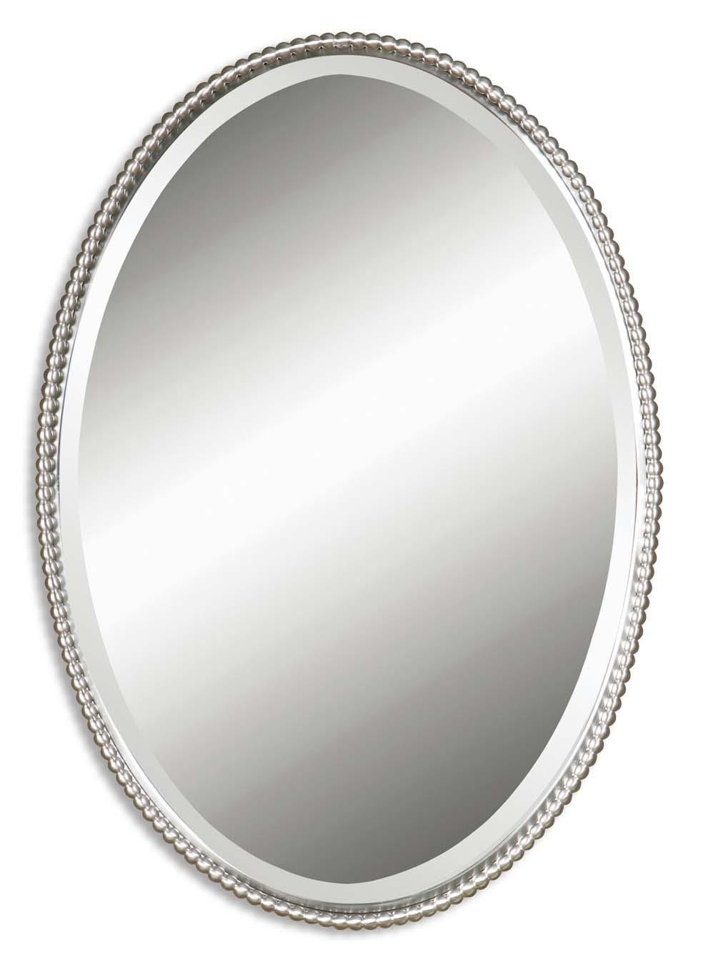 Uttermost Sherise Brushed Nickel Oval Mirror 01102 B Pertaining To Oval Silver Mirror (Photo 11 of 20)