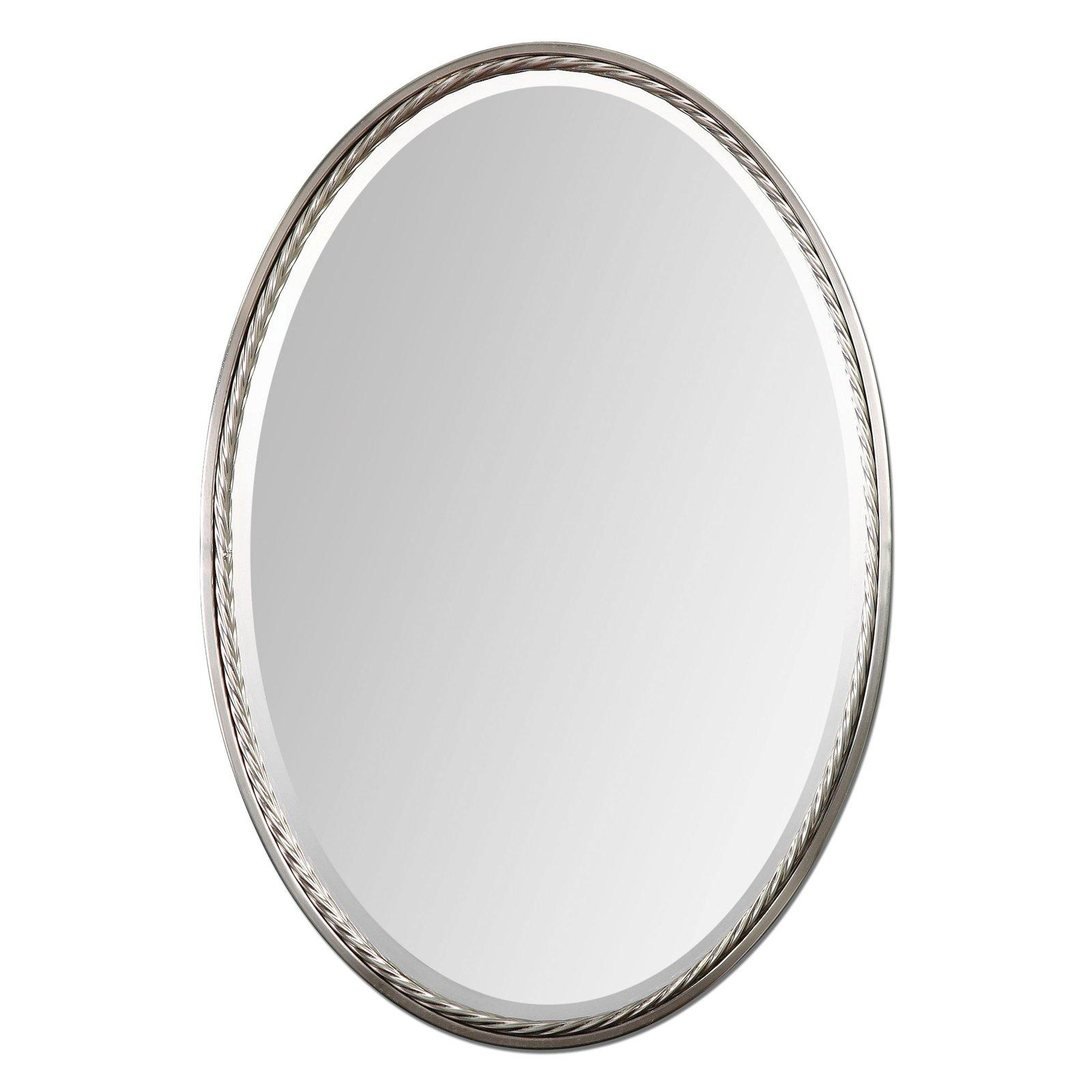 Uttermost Sherise Nickel Finish Oval Beveled Mirror – 22W X 32H In Intended For Beveled Edge Oval Mirror (Photo 19 of 20)