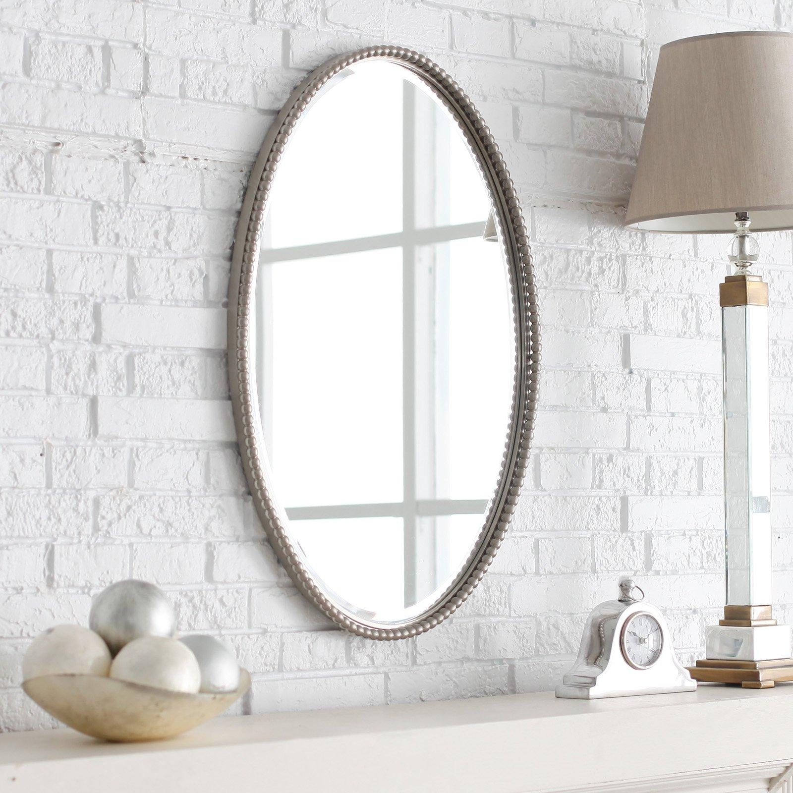 Uttermost Sherise Nickel Finish Oval Beveled Mirror – 22W X 32H In Pertaining To Large Oval Mirror (Image 20 of 20)