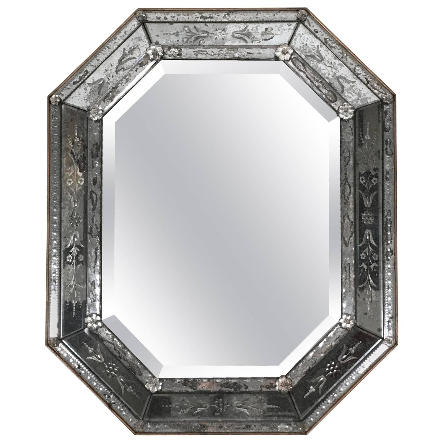 Venetian Etched Glass Octagonal Mirror At 1Stdibs Intended For Black Venetian Mirror (Image 15 of 20)