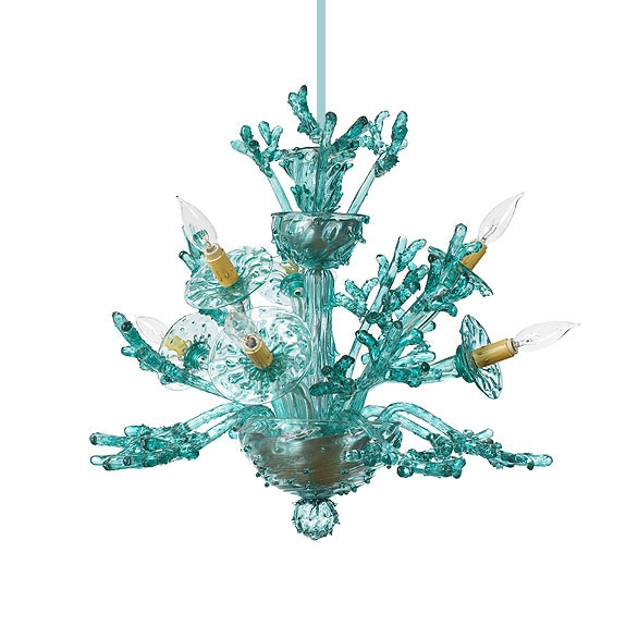 Venetian Glass Chandeliers Pendants Lanterns And Candles Pertaining To Turquoise Glass Chandelier Lighting (Image 25 of 25)