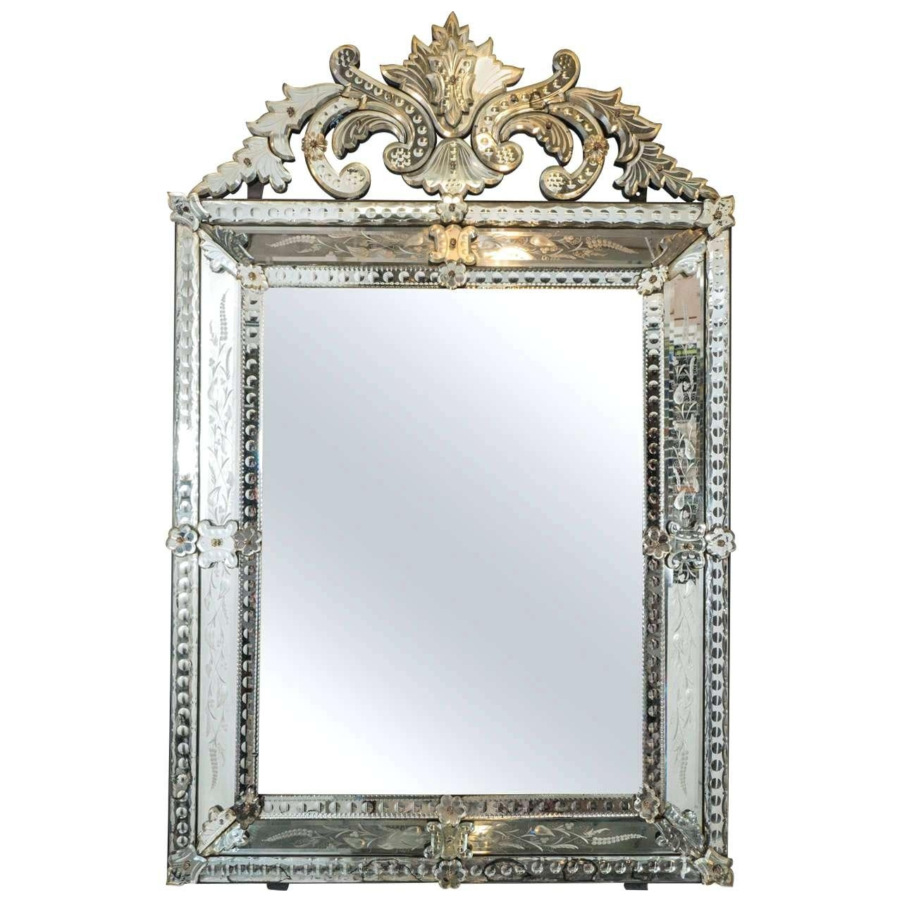 Venetian Glass Mirror With Floral And Leaf Motif Wall Etched Within Large Venetian Wall Mirror (Image 19 of 20)