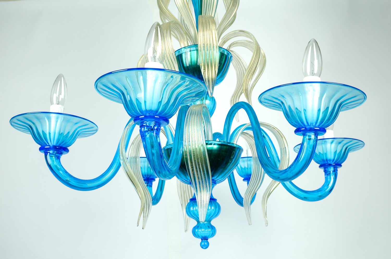 Venetian Handblown Six Arms Turquoise With Gold Flecks Chandelier Intended For Turquoise And Gold Chandeliers (Image 11 of 13)