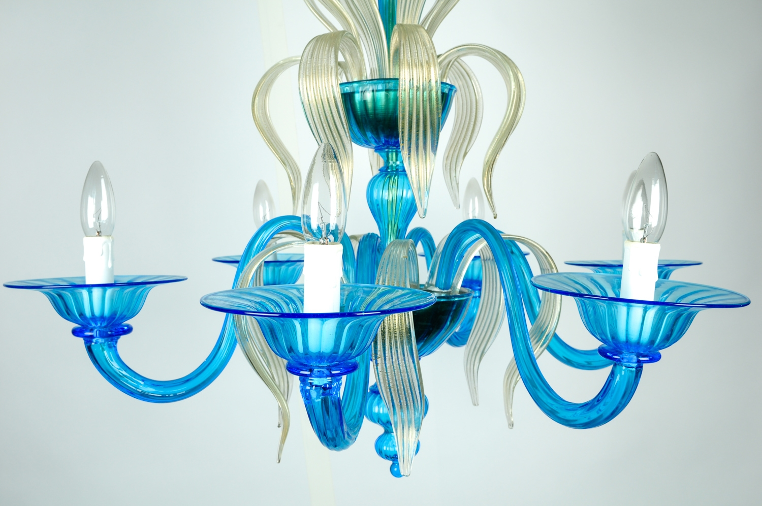 Venetian Handblown Six Arms Turquoise With Gold Flecks Chandelier Pertaining To Turquoise And Gold Chandeliers (Image 12 of 13)