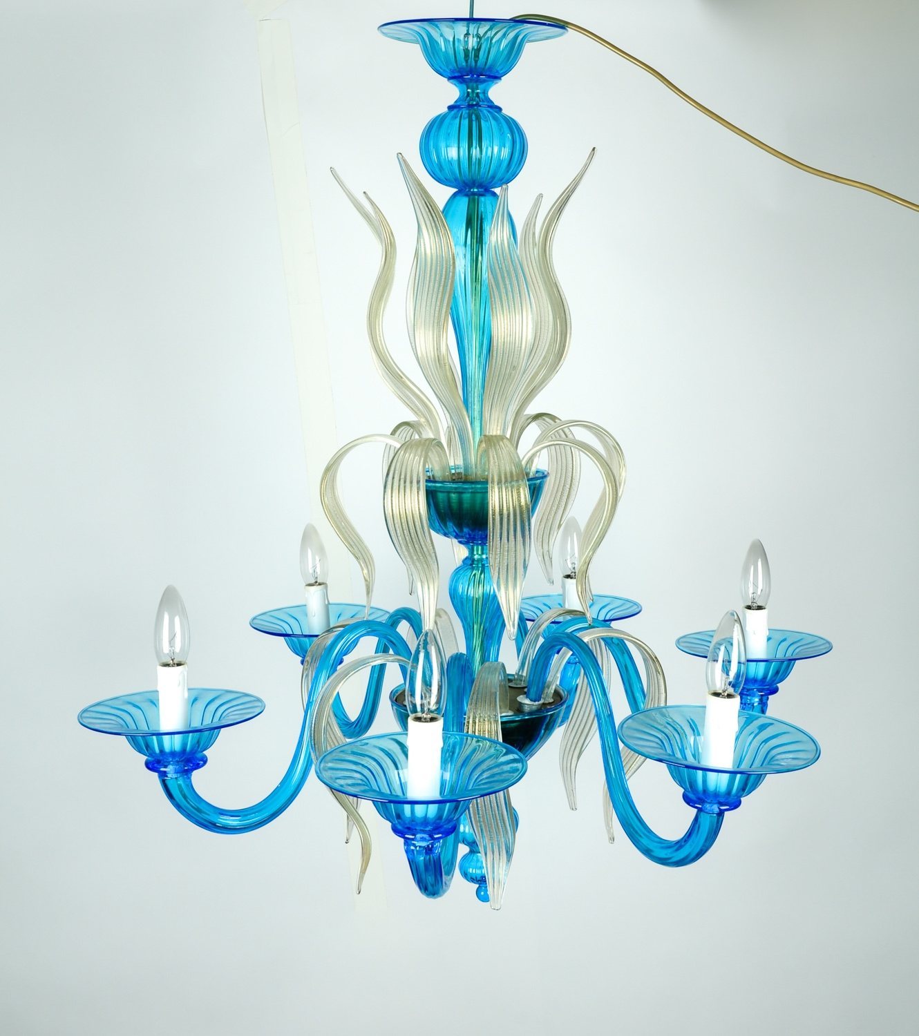 Venetian Handblown Six Arms Turquoise With Gold Flecks Chandelier Within Turquoise And Gold Chandeliers (Image 13 of 13)