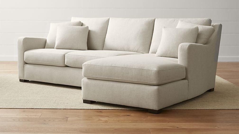 Verano Beige Right Arm Chaise Sectional | Crate And Barrel Within 2 Piece Sectional Sofas (Image 20 of 20)