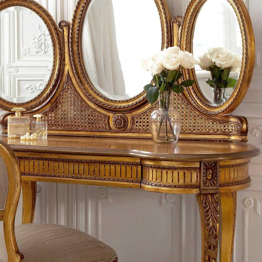 Versailles Gold Gilt Dressing Table | Dressing Table Throughout Gold Dressing Table Mirror (View 3 of 20)