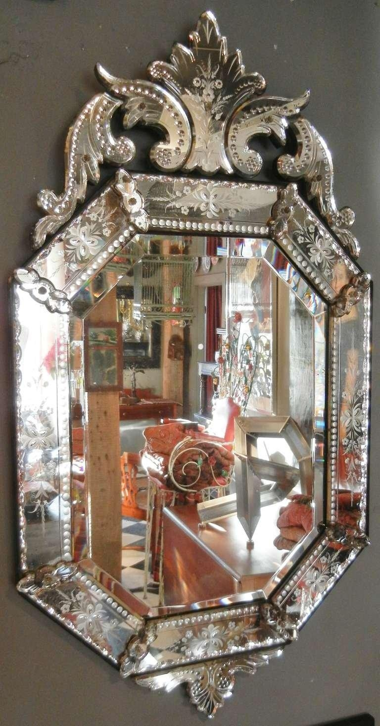 Very Fine Antique Venetian Etched Glass Mirror In Medium Size At Pertaining To Venetian Mirrors Antique (View 3 of 20)