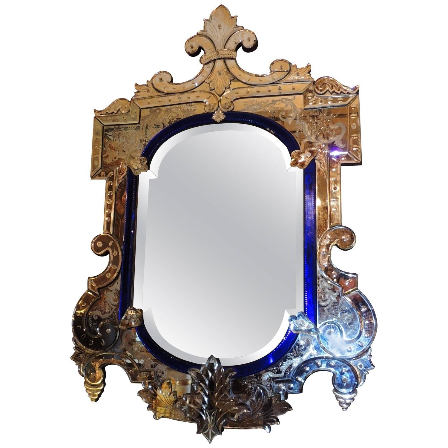 Very Fine Antique Venetian Etched Glass Mirror In Medium Size At With Venetian Mirrors Antique (Image 19 of 20)