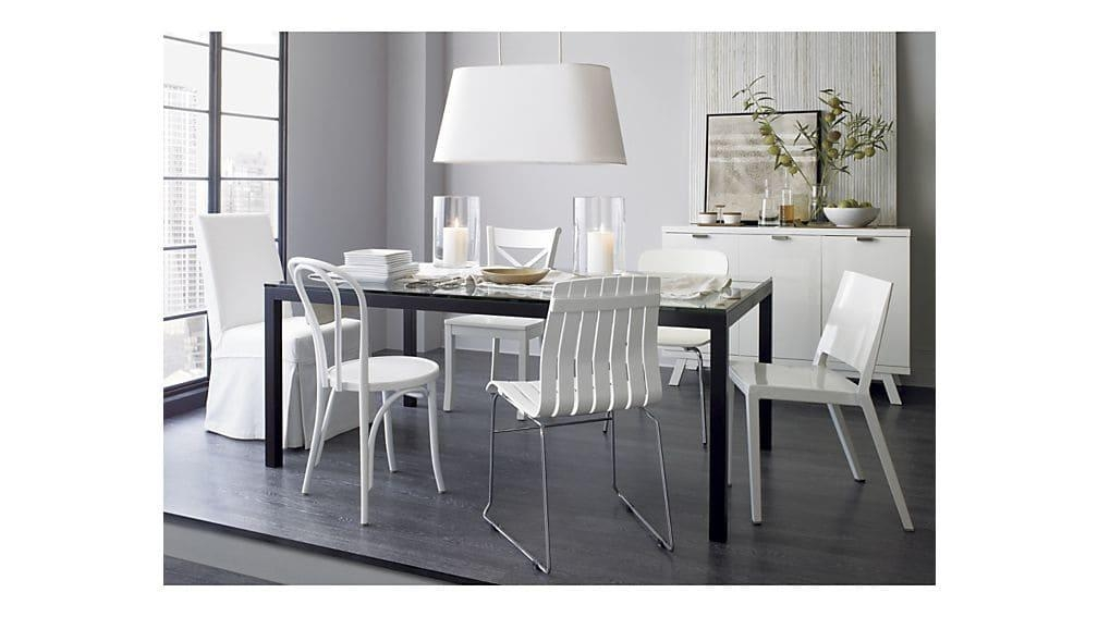 Vienna White Wood Dining Chair | Crate And Barrel Pertaining To Vienna Dining Tables (Image 18 of 20)