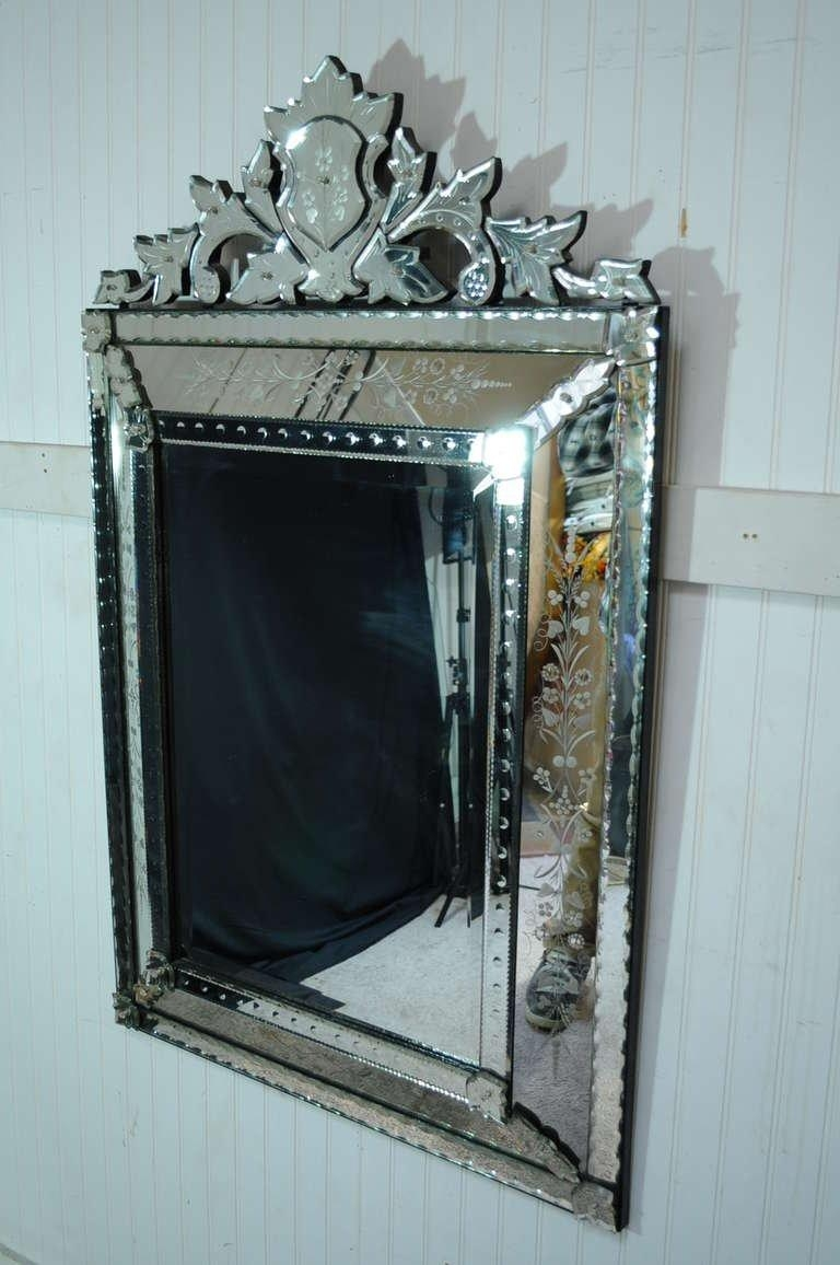 Vintage 20Th Century French Venetian Style Etched Glass Wall With Regard To French Wall Mirror (Image 19 of 20)