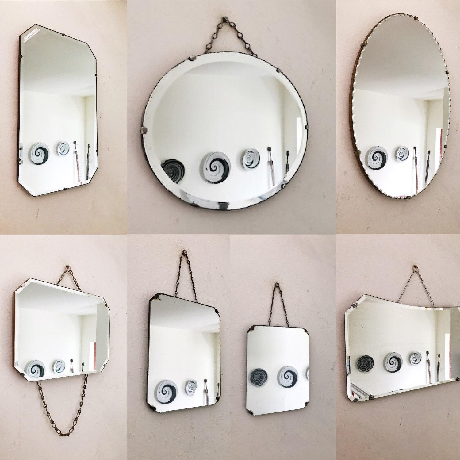 Vintage Art Deco Frameless Mirror/frameless Vintage 1930S Throughout Art Deco Frameless Mirror (View 7 of 20)