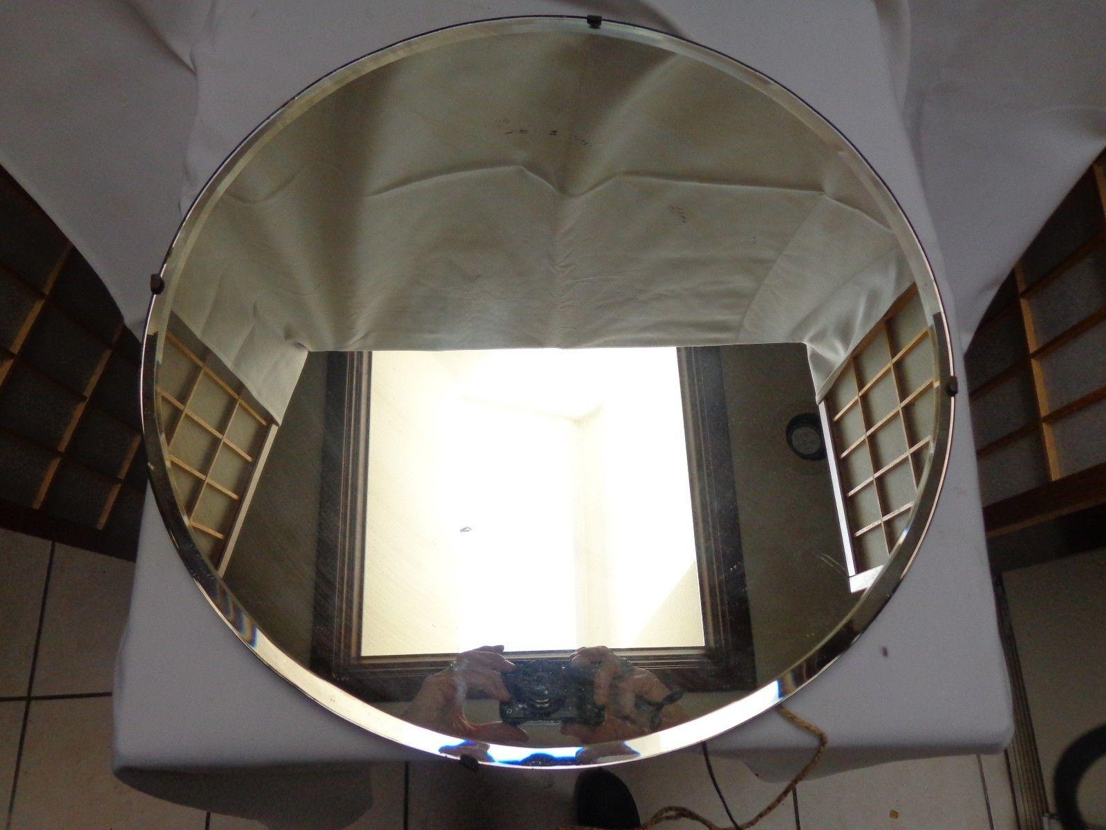 Vintage Art Deco Round Beveled Glass Mirror 18 Across Frameless Pertaining To Art Deco Frameless Mirror (Image 19 of 20)