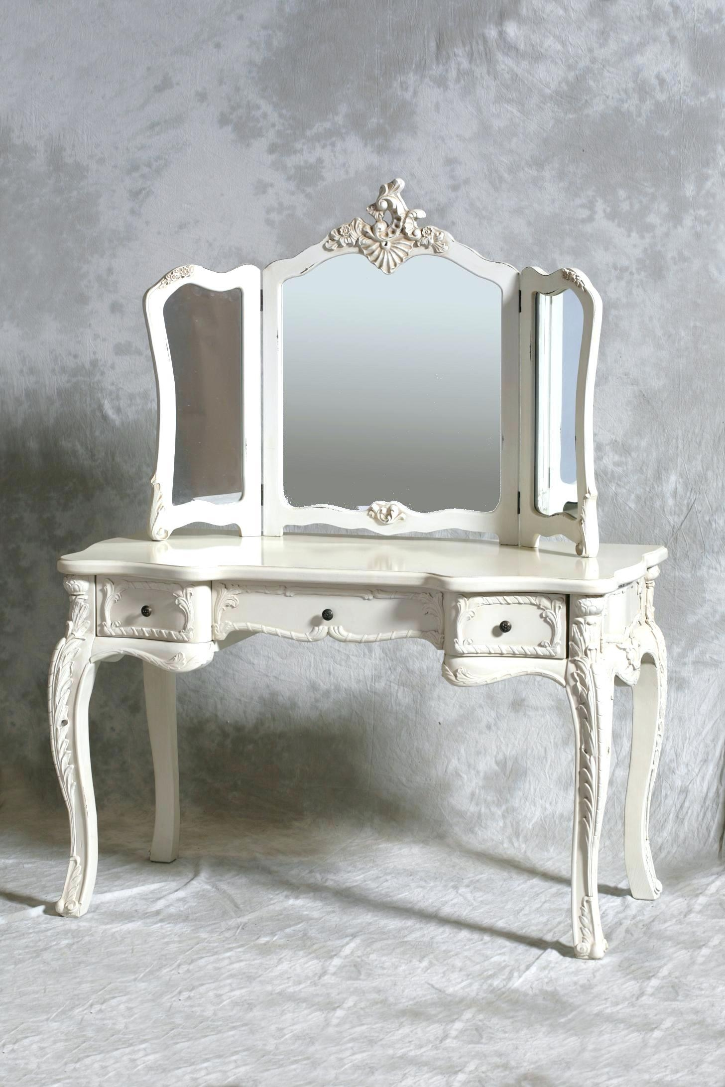 Vintage Dressing Table Make Up Dresser Vanityold Fashioned With Within Cream Vintage Mirror (Image 15 of 20)
