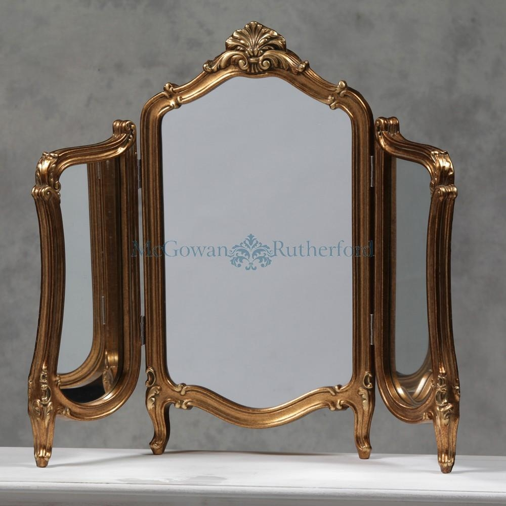 Vintage Dressing Table With Mirror Antique Gold Regency Dressing Regarding Gold Dressing Table Mirror (View 14 of 20)