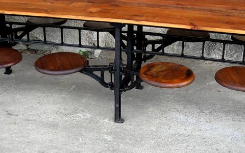 Vintage Industrial Wood Cafeteria Table – Hudson Goods Blog For Dining Tables With Attached Stools (View 16 of 20)