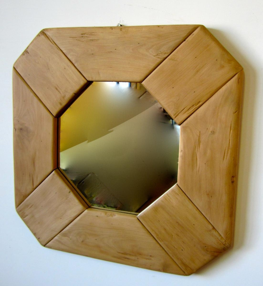 Vintage Italian Wooden Mirror, 1970S For Sale At Pamono Intended For Wooden Mirror (Image 11 of 20)