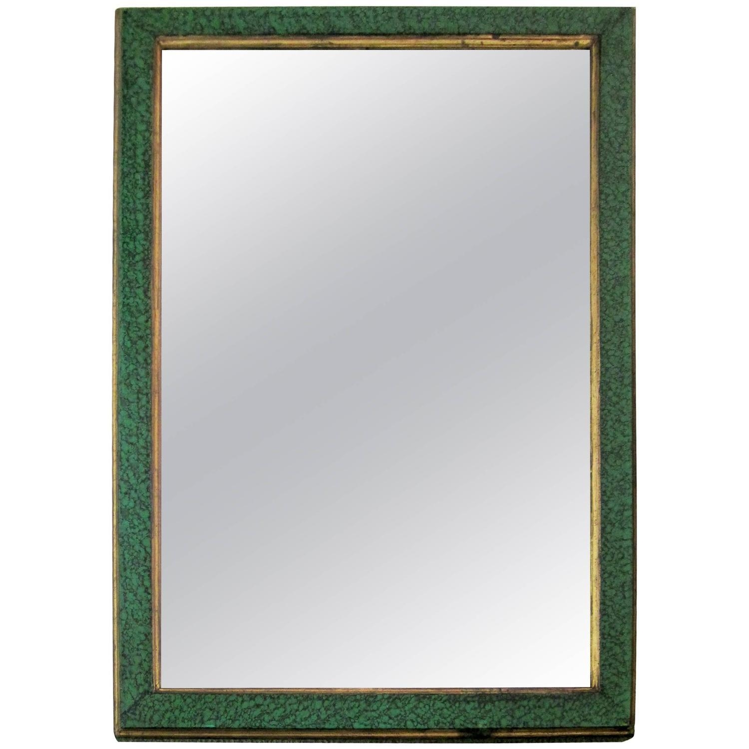 Vintage Malachite Green Style Lacquer And Gilt Wall Mirror For With Regard To Gilt Edged Mirror (Photo 16 of 20)