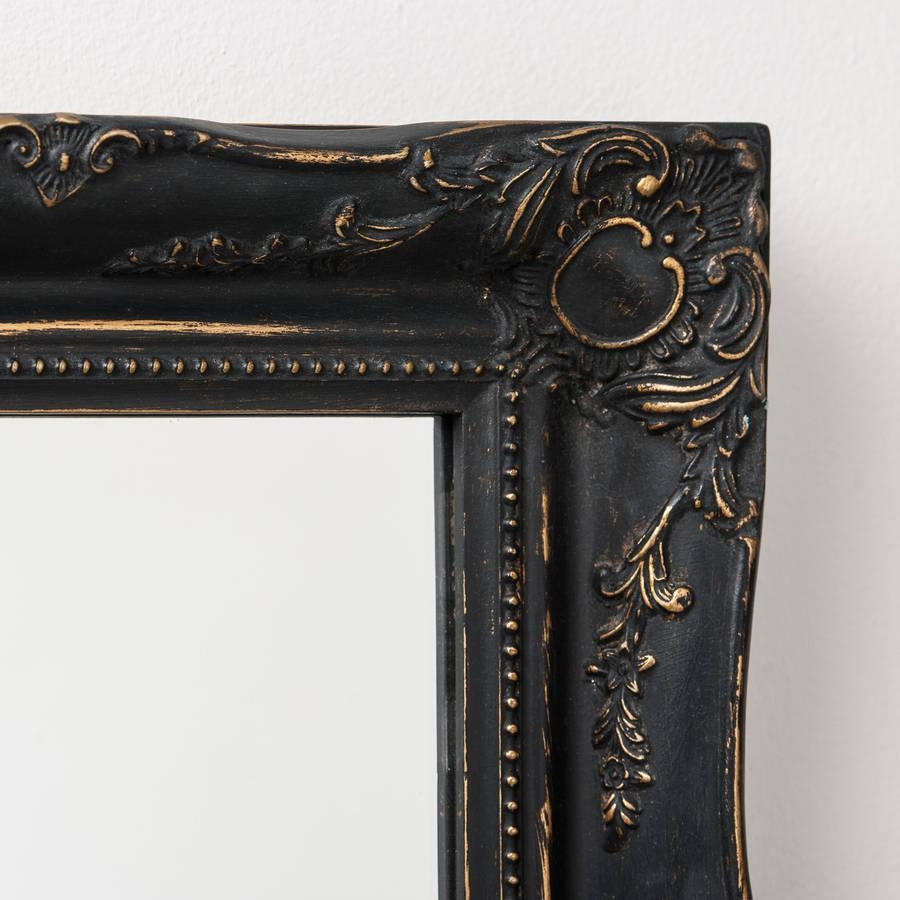 Vintage Matt Black Mirror Distressedhand Crafted Mirrors For Black Antique Mirror (Photo 15 of 20)