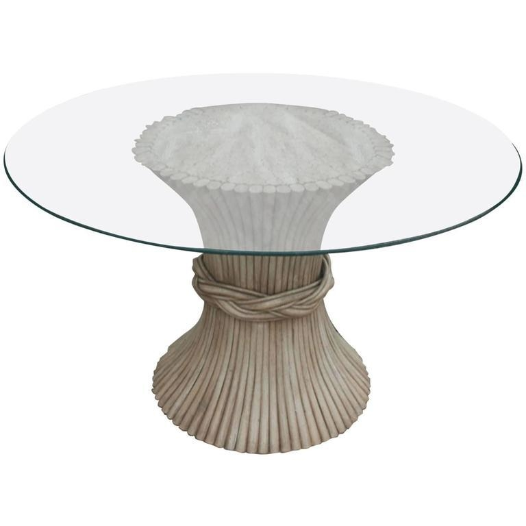 Vintage Mcguire Round Rattan Dining Table Sheaf Of Wheat Style With Rattan Dining Tables (Photo 5 of 20)