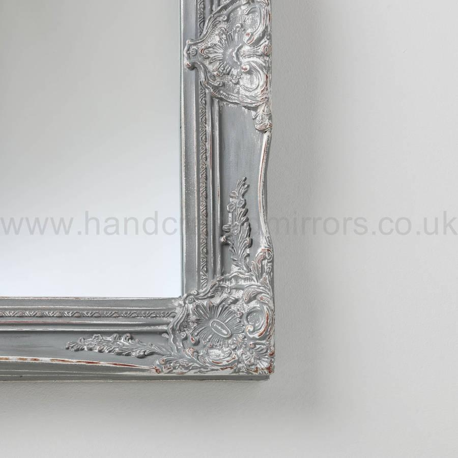 Vintage Ornate Grey Large Mirrorhand Crafted Mirrors For Vintage Ornate Mirror (Image 15 of 20)