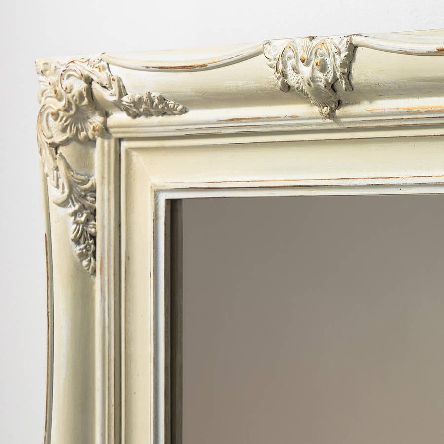 Vintage Ornate Hand Painted Mirrorhand Crafted Mirrors For Cream Vintage Mirror (Image 16 of 20)