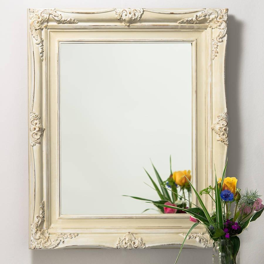 Vintage Ornate Hand Painted Mirrorhand Crafted Mirrors Throughout Cream Vintage Mirror (Image 17 of 20)