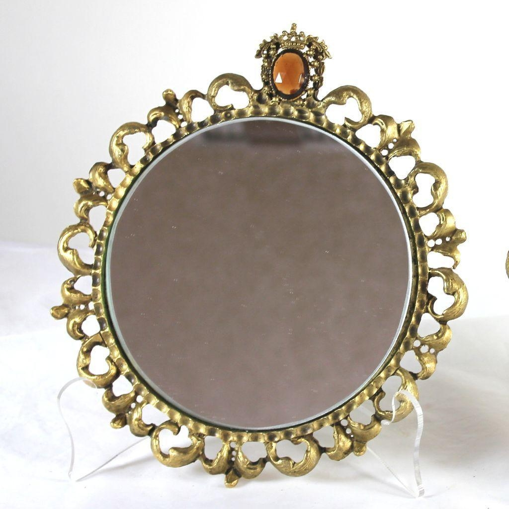 Vintage Pair Of Round Gilt Framed Mirrors With Jewels, Hollywood Pertaining To Round Gilt Mirror (View 10 of 20)