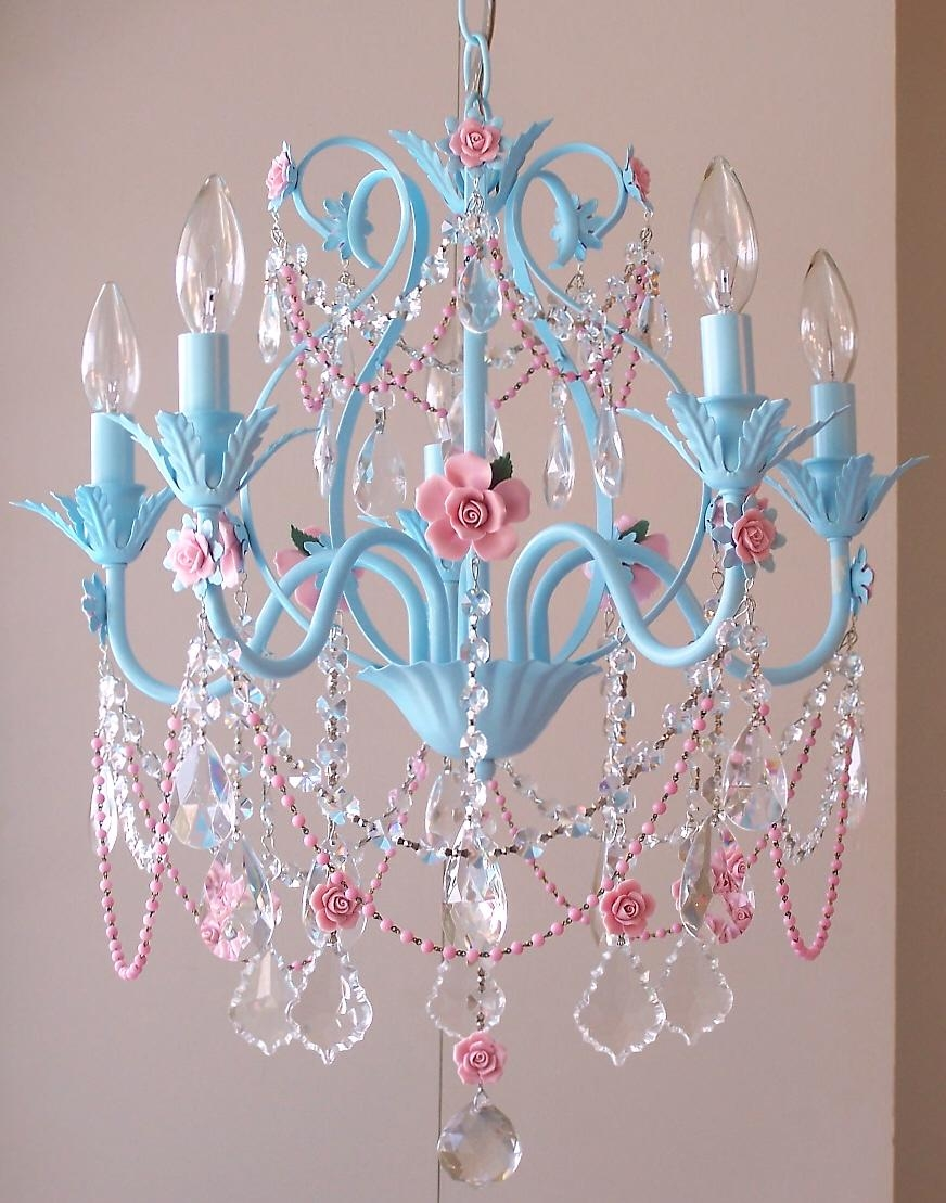Vintage Pretty In Pink Crystal Chandelier Femininely Pink With Regard To Turquoise Chandelier Crystals (Image 25 of 25)