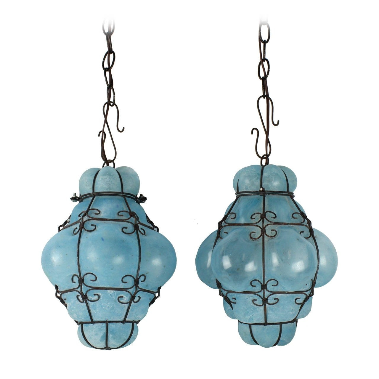 Vintage Seguso Murano Blue Glass Cage Pendant Lights At 1stdibs Intended For Turquoise Blue Glass Chandeliers (Image 24 of 25)