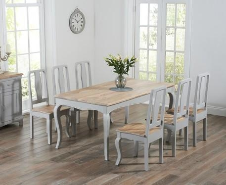 Vintage Shabby Chic Oak Extending Kitchen Table & Chairs Dining With Shabby Dining Tables And Chairs (Image 20 of 20)