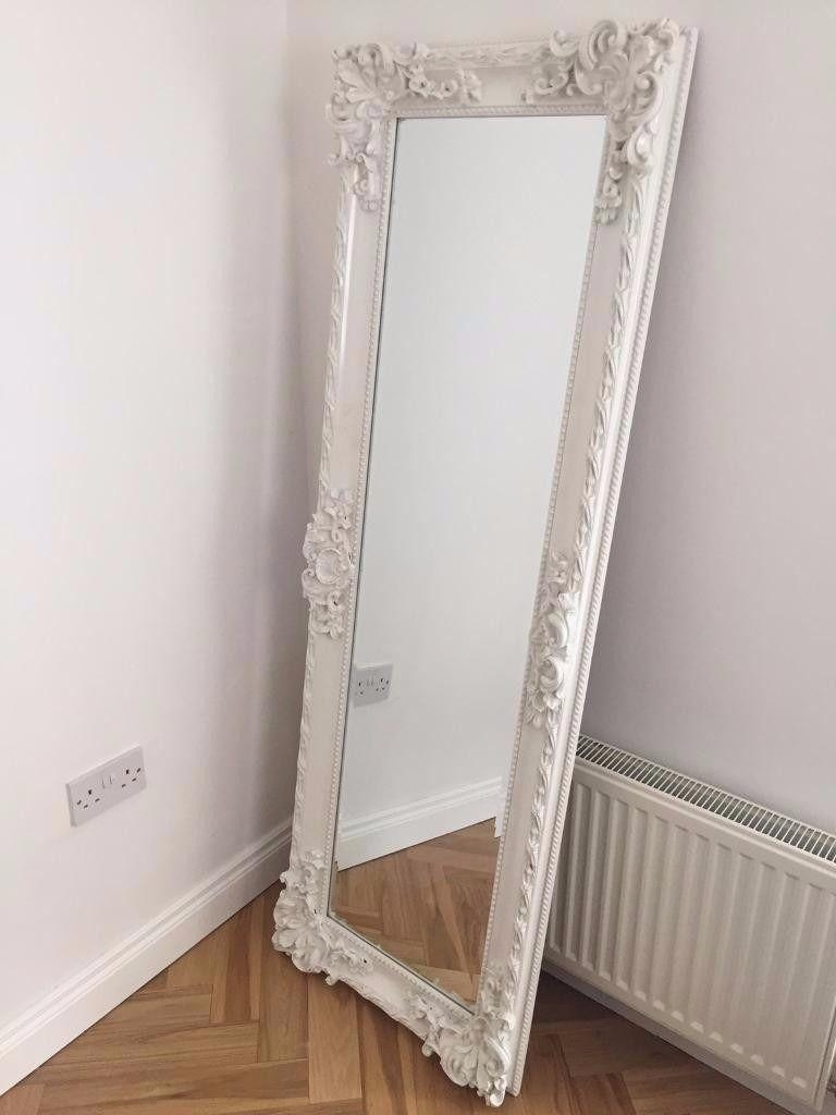 Vintage Style White Freestanding Ornate Long Full Length Mirror With Regard To Full Length Ornate Mirror (Image 20 of 20)