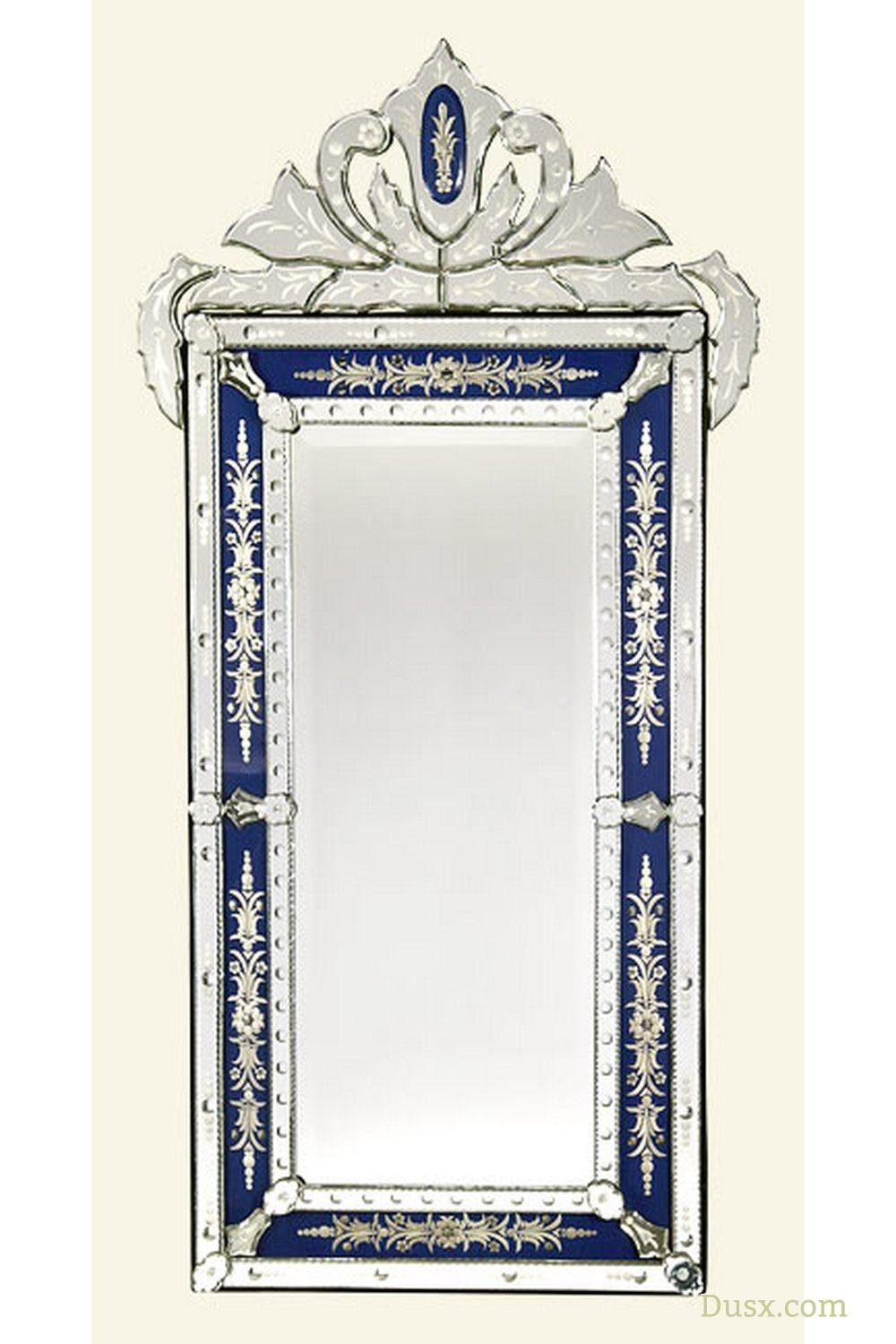 Vintage Venetian Antique Style Blue & Clear Etched Decorative Wall Pertaining To Venetian Mirrors Antique (View 13 of 20)