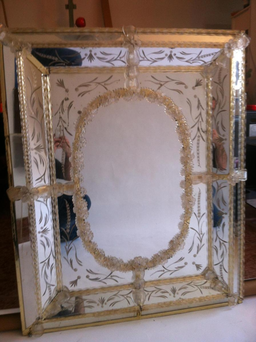Vintage Venetian Murano Glass Mirror For Sale At Pamono Throughout Venetian Glass Mirrors Sale (View 16 of 20)