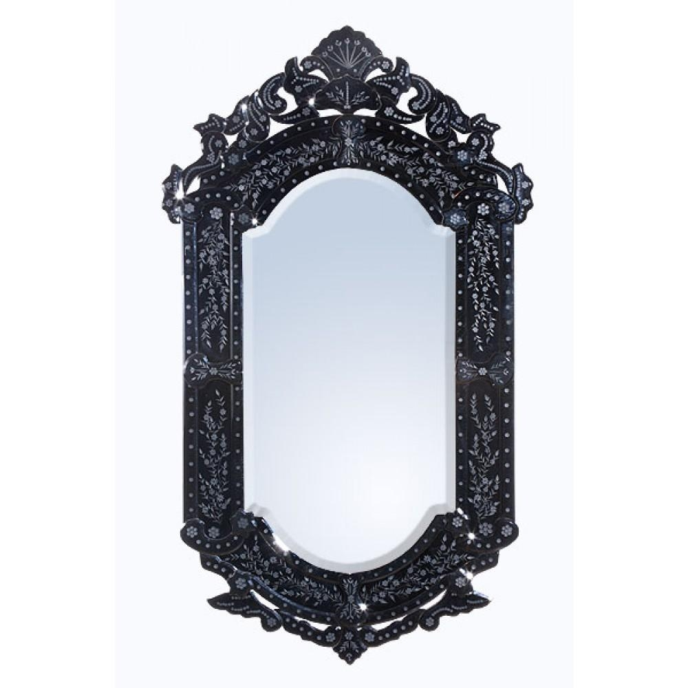 Vintage Venezia Black Etched Antique Style Decorative Wall Bedroom With Black Venetian Mirror (Image 19 of 20)