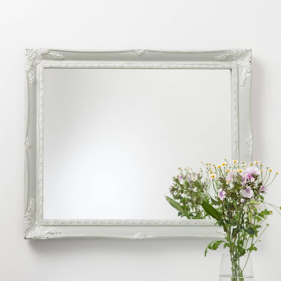 Vintage White Cream Hand Painted Mirrorhand Crafted Mirrors Regarding Cream Vintage Mirror (Image 19 of 20)